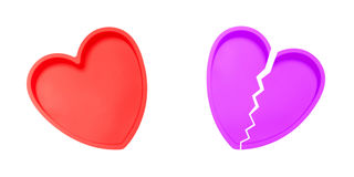 Heart and broken heart Royalty Free Stock Images