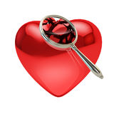 Heart broken into pieces under zoom. Heart attack and love: heart broken into pieces under the magnifying glass isolated on white vector illustration
