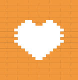 Heart on brown brick wall - Valentine's day Stock Photos