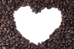 Heart brown coffee. Beans texture frame Stock Photo
