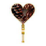 Heart with brown pine cones Stock Photography
