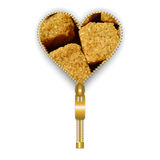 Heart with brown sugar cubes Stock Photos