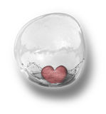 Heart in bubble. Red heart splashing in bubble Stock Images