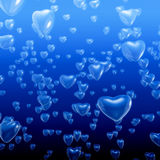 Heart bubbles underwater. 3D illustration of heart shaped bubbles rising toward ocean surface Stock Photos