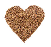 Heart from buckwheat. On white isolated background Stock Photo