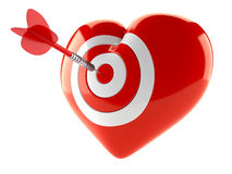 Heart bull`s eye concept. Isolated on white background Royalty Free Stock Photos