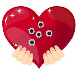 Heart with bullet holes, vector illustration. Bullet hole heart concept of a heart shaped icon with bullet holes. Concept for broken heart or other love or Stock Images