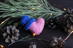 Heart and bumps. Pink heart on black background with spruce branch and bumps royalty free stock photos