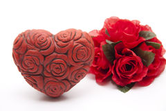 Heart and bunch of roses Royalty Free Stock Image