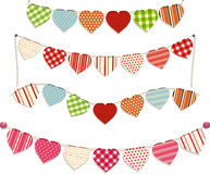 Heart bunting. Love Heart Bunting Set on White Royalty Free Stock Photography