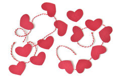 Heart bunting paper cut on white background Stock Image