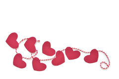 Heart bunting paper cut on white background Royalty Free Stock Images