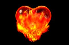 Heart burn. On fire heart burn concept 3d render Royalty Free Stock Photography