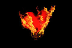 Heart. Burning art background fire Royalty Free Stock Photography
