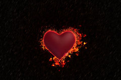 Heart is burning in the rain. Valentine `s Day style dark. The heart is burning in the rain Royalty Free Stock Photo