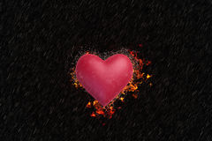 Heart is burning in the rain. Valentine `s Day style dark. The heart is burning in the rain Royalty Free Stock Photos