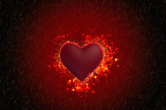 Heart is burning in the rain. Valentine `s Day style dark. The heart is burning in the rain Stock Images