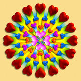 Heart burst 1. 3-D hearts in a circular pattern royalty free illustration