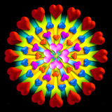 Heart burst 2. 3-D hearts in a circular pattern stock illustration