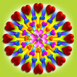 Heart burst 4. 3-d hearts in a circular pattern royalty free illustration