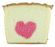 Heart butter cake. Isolated a butter cake have a heart inside Royalty Free Stock Photography