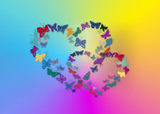 Heart from butterflies stock photo