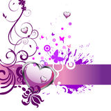 Heart and butterflies. Illustration of purple heart and colorful butterflies on a floral background Royalty Free Stock Photo