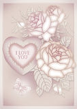 heart, butterflies and flowers Royalty Free Stock Photo