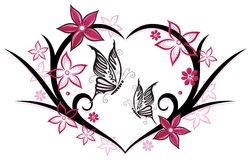 Heart, butterflies, flowers. Heart with butterflies and flowers, pink Royalty Free Stock Photos