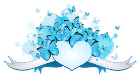Heart with butterflies Stock Images