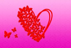Heart with butterflies. Illustration of Valentine`s Day