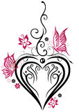 Heart, butterflies. Large heart with butterflies and pink flowers stock illustration