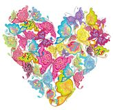 Heart of butterflies. Vector illustration  Stock Photos