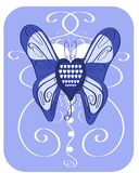 Heart decorated with butterfly wings in blue tones. Illustration representing an heart with wings of butterfly. color: blue Royalty Free Stock Photography