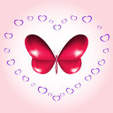 Heart butterfly card Stock Images