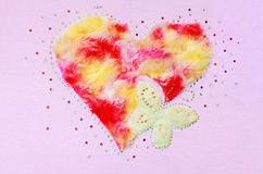 Heart butterfly fluff and sequin Stock Photos