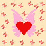 Heart and butterfly. Illustration of a red heart with butterfly Royalty Free Stock Photo