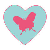 Heart with butterfly love card decoration Stock Images