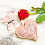 Heart, Butterfly and red rose Royalty Free Stock Images