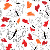 Heart and butterfly seamless pattern Stock Images