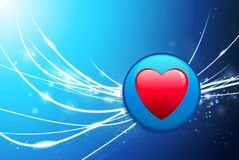 Heart Button on Blue Abstract Light Background Stock Image