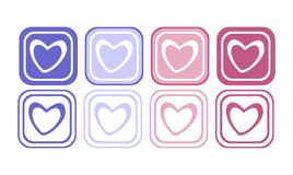 Heart button set Stock Photos