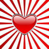 Heart button with stripes Stock Photography