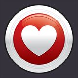 Heart button. Vector red round sticker. Royalty Free Stock Photography