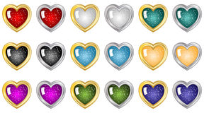 Heart Buttons. Festive heart buttons in many colors with gold and silver borders Stock Photography