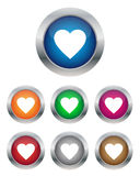 Heart buttons. Collection of heart buttons in various colors Royalty Free Stock Photo