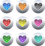 Heart buttons. Collection of gel heart icons set on silver metallic buttons isolated on white Royalty Free Stock Photos