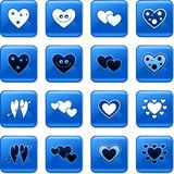 Heart buttons. Collection of blue square heart rollover buttons Royalty Free Stock Image