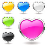 Heart (buttons) icons set. Valentine. Royalty Free Stock Image