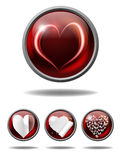 Heart buttons. Vector valentine buttons with various hearts, eps10 file, gradient mesh and transparency used Stock Image